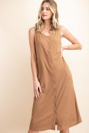 KORI AMERICA Button Down Rib Jersey Midi Dress - Product Mini Image