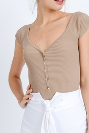 Love Tree Button-Down Ribbed Bodysuit - Product Mini Image