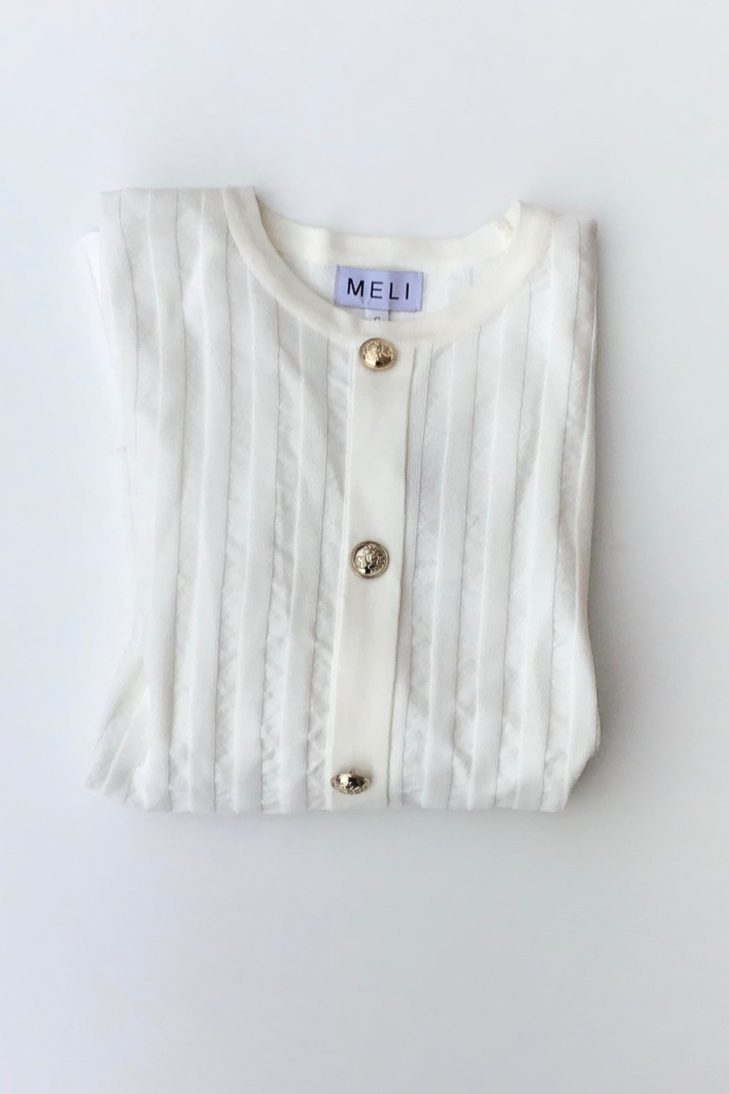Meli by FAME BUTTON DOWN RIBBED SWEATER - Front Cropped Image