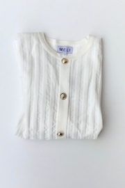 Meli by FAME BUTTON DOWN RIBBED SWEATER - Front cropped