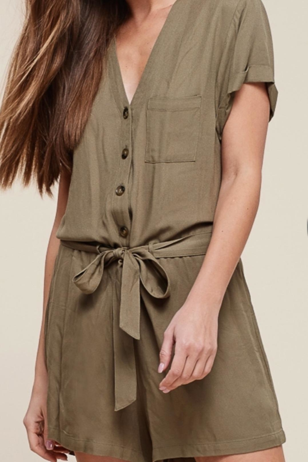 Staccato Button Down Romper - Front Full Image