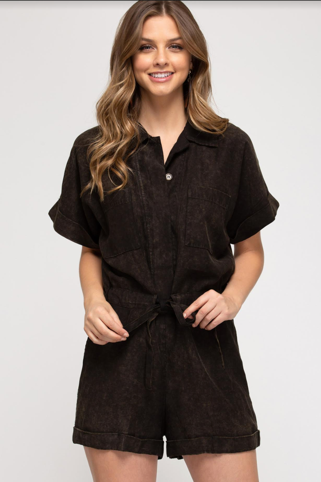 She and Sky Button Down Romper - Main Image