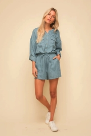 Hem and Thread Button Down Romper - Product Mini Image