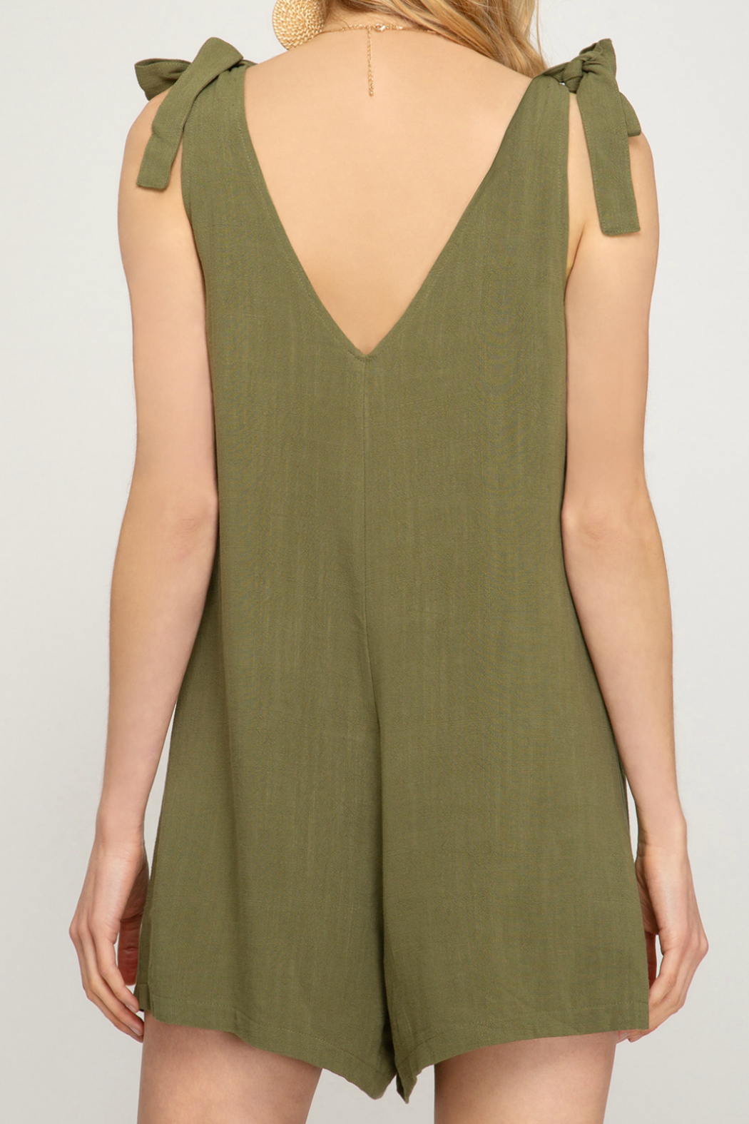 She + Sky Button down romper with shoulder tie - Side Cropped Image