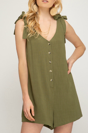 She + Sky Button down romper with shoulder tie - Product Mini Image