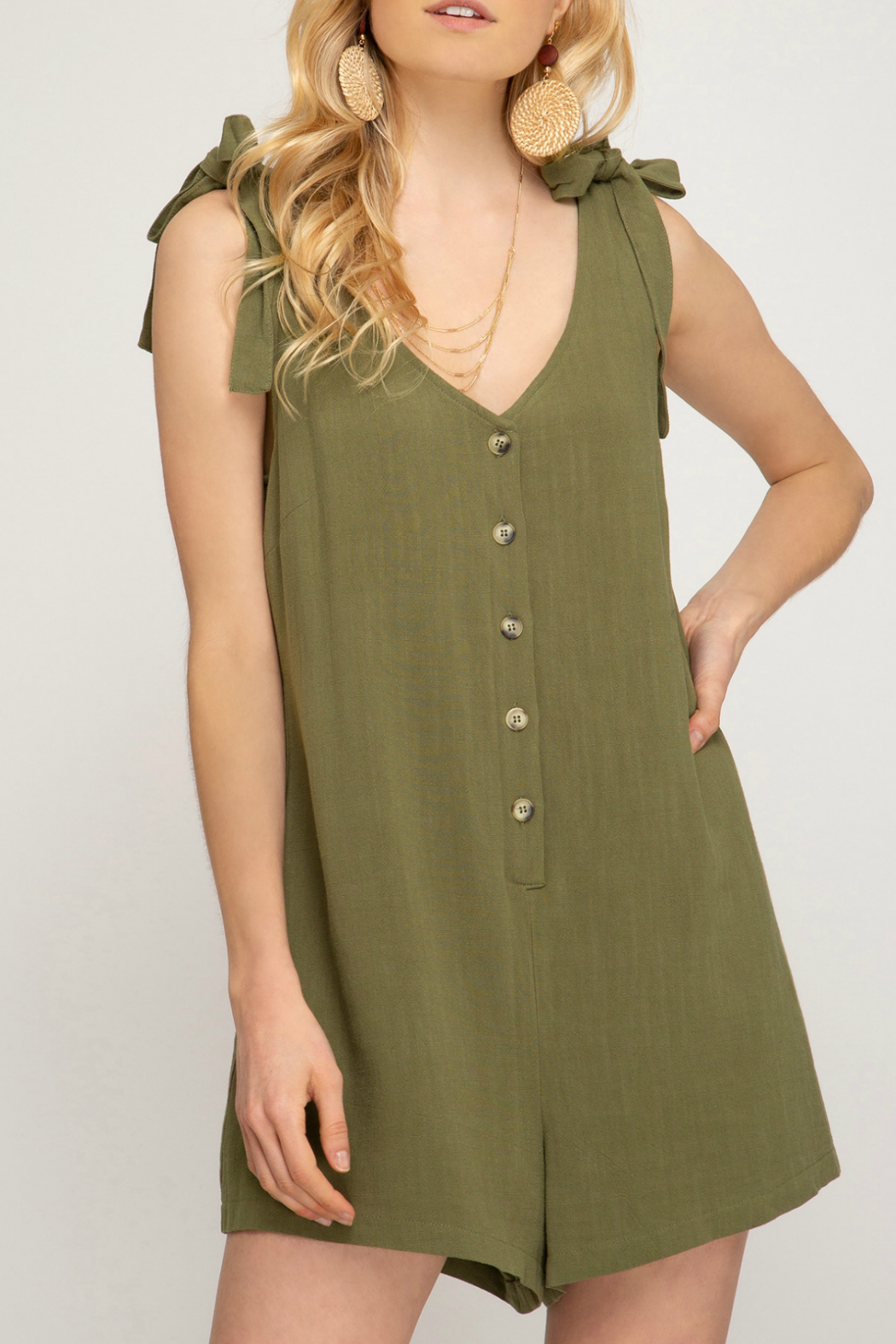 She + Sky Button down romper with shoulder tie - Main Image