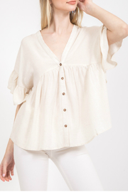 LoveRiche Button down ruffled top - Product Mini Image