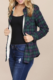 Riah Fashion Button-Down-Sherpa-Lined Flannel Shirt - Product Mini Image