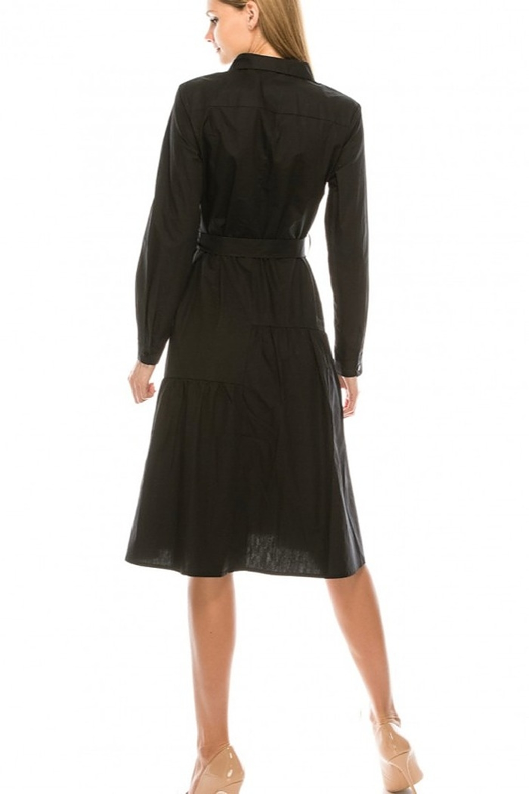 Yal NY Button down shirt dress with belt - Side Cropped Image