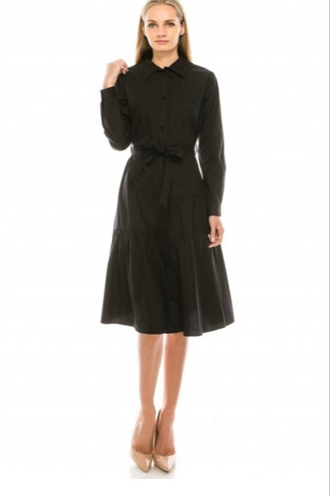 Yal NY Button down shirt dress with belt - Main Image