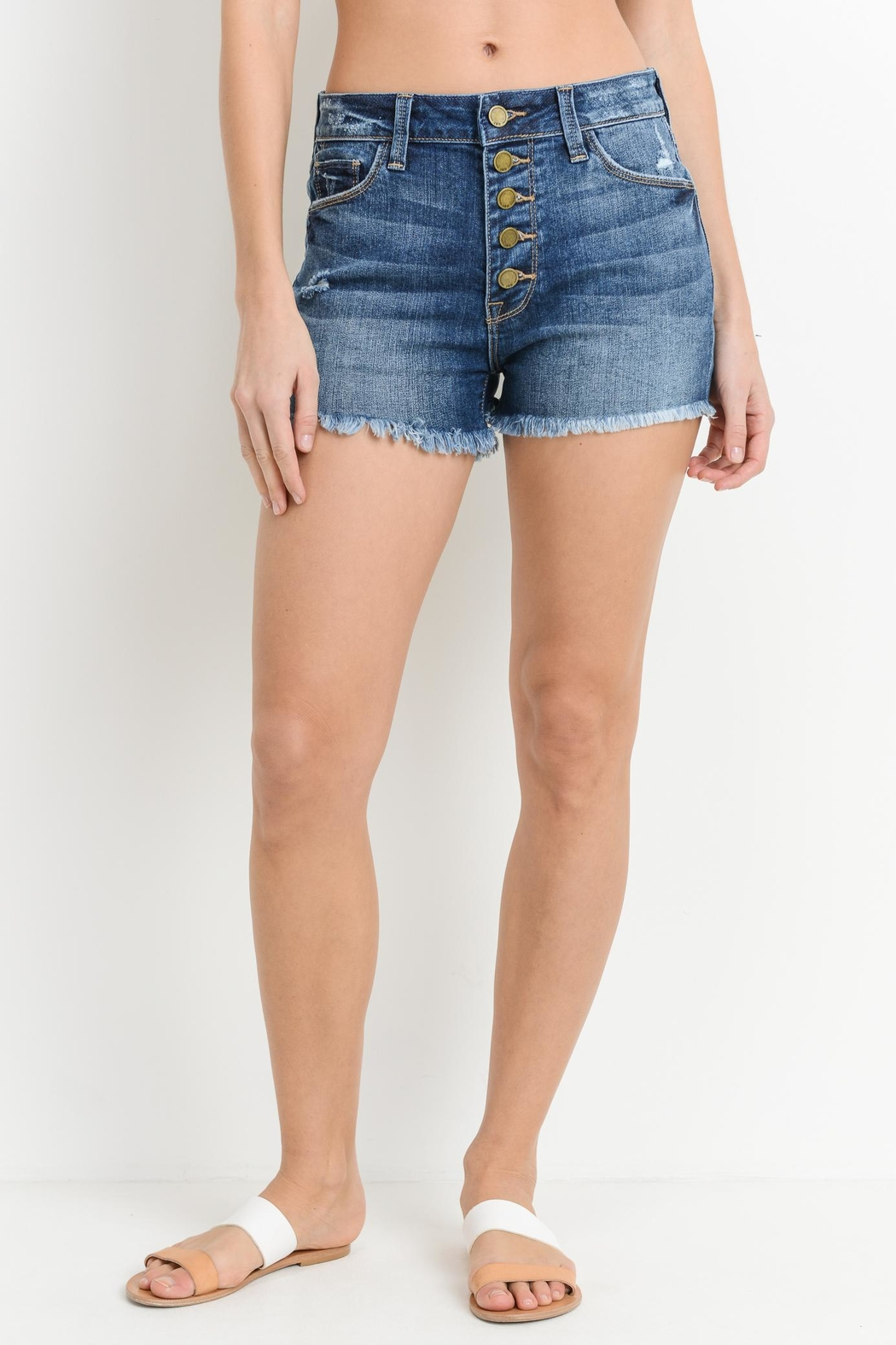 just black Button Down Shorts - Main Image
