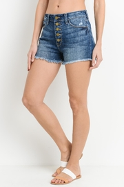 just black Button Down Shorts - Front full body