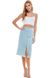 Love & Piece Collective Button Down Silk Skirt with Slit - Product Mini Image