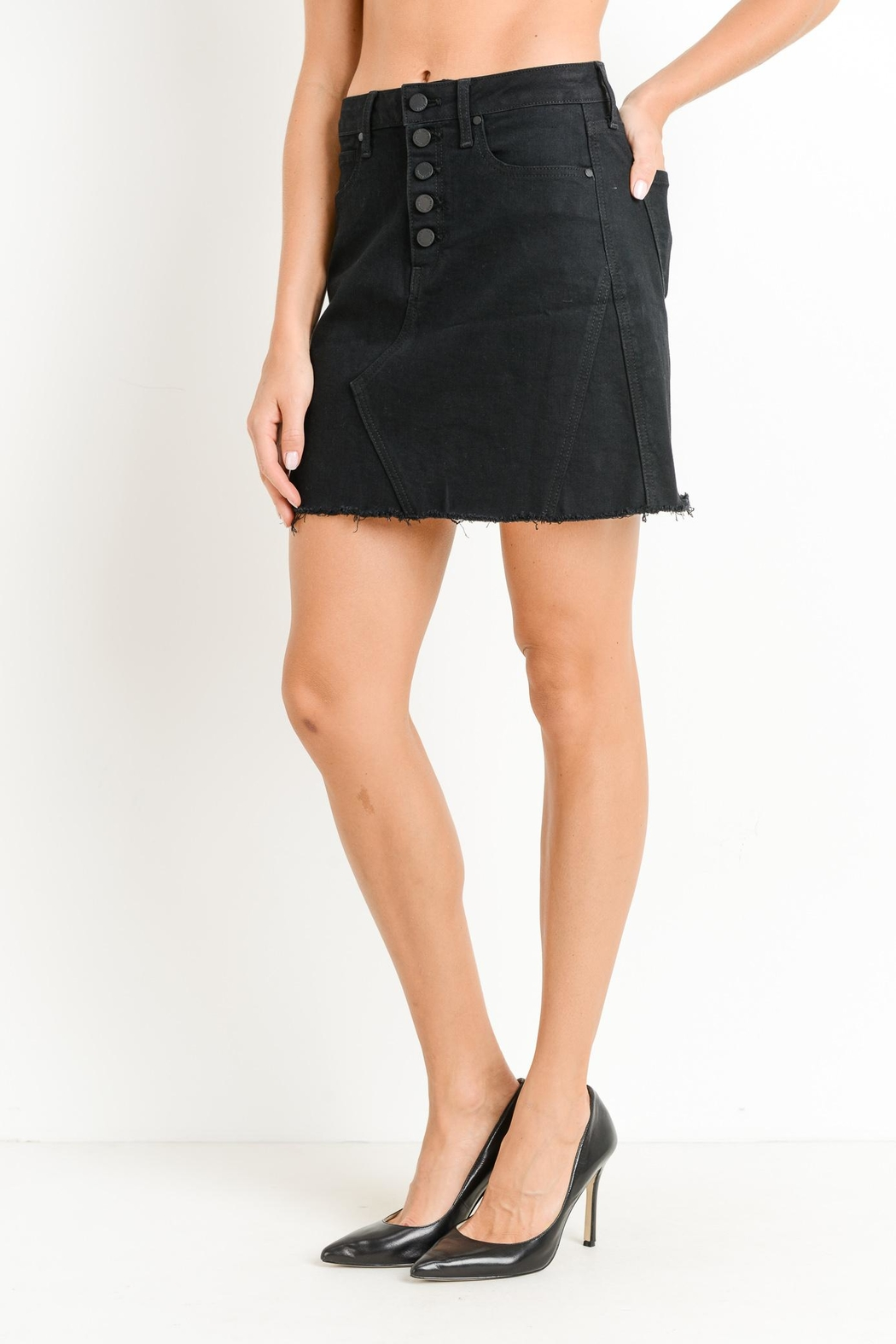 just black Button-Down Skirt - Front Full Image