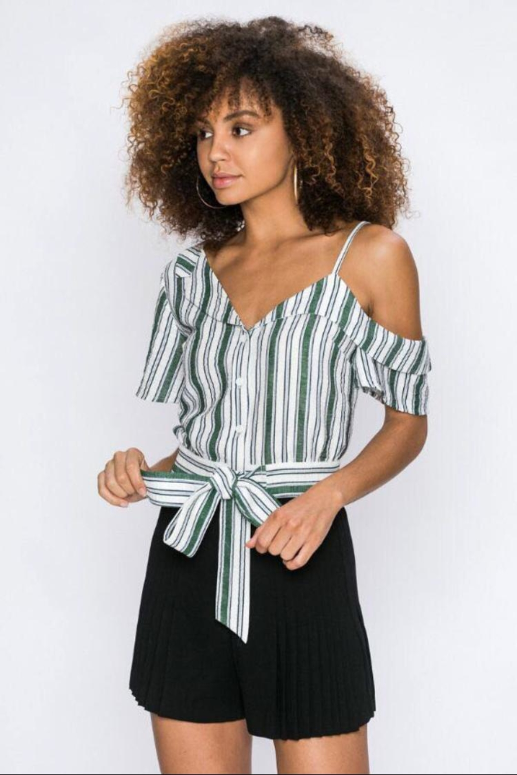 Jealous Tomato Button-Down Striped Shirt - Front Cropped Image