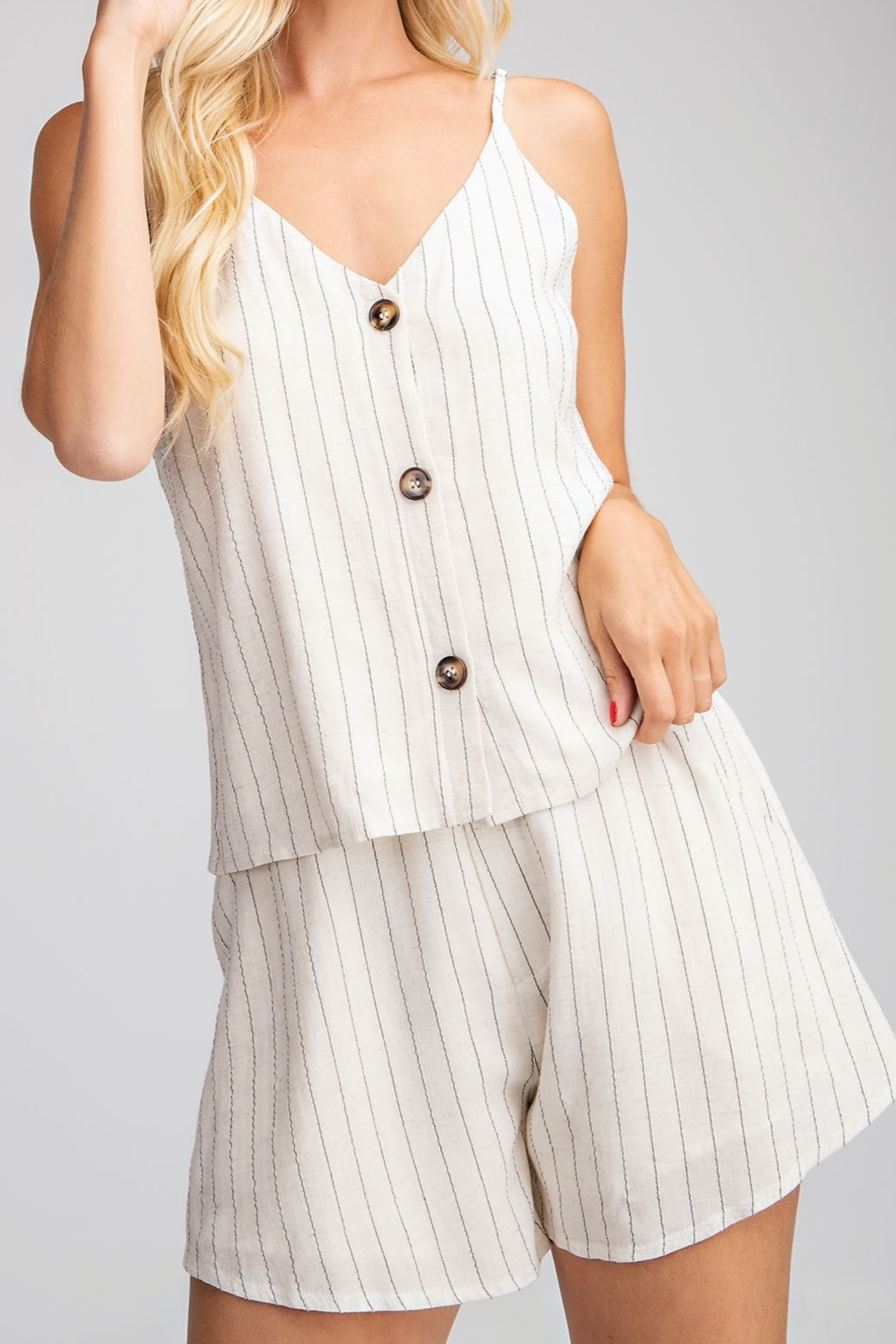 Glam Button Down tank top - Front Cropped Image