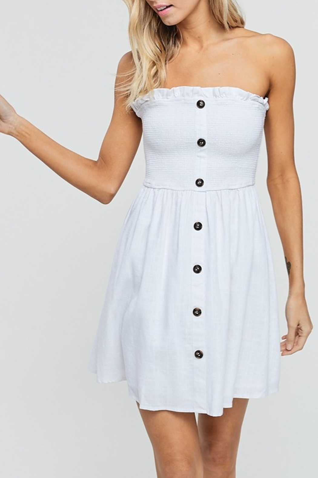 crescent Button Down Tube Dress - Front Cropped Image