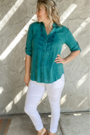 Lola P Button Down V-Neck Top with sleeves - Product Mini Image