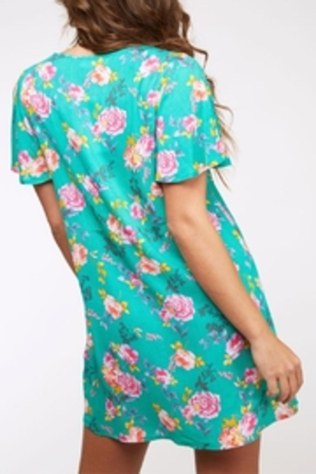Peach Love California Button Floral Dress - Back Cropped Image