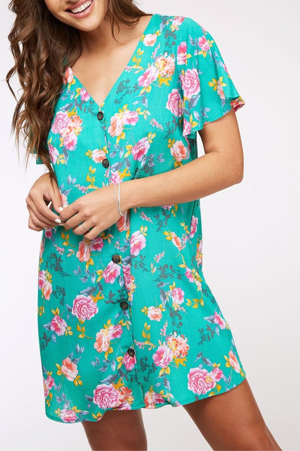 Peach Love California Button Floral Dress - Front Full Image