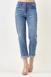 Risen Jeans  Button Fly Distressed Mom Jeans - Product Mini Image