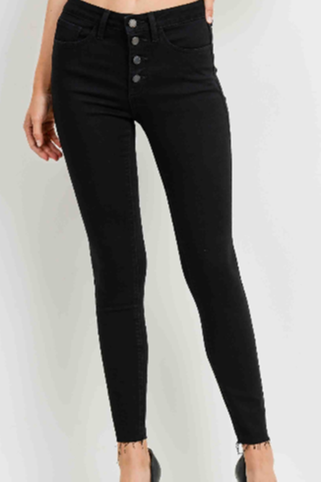 Just Black Denim Button Fly Skinny Jeans - Front Full Image