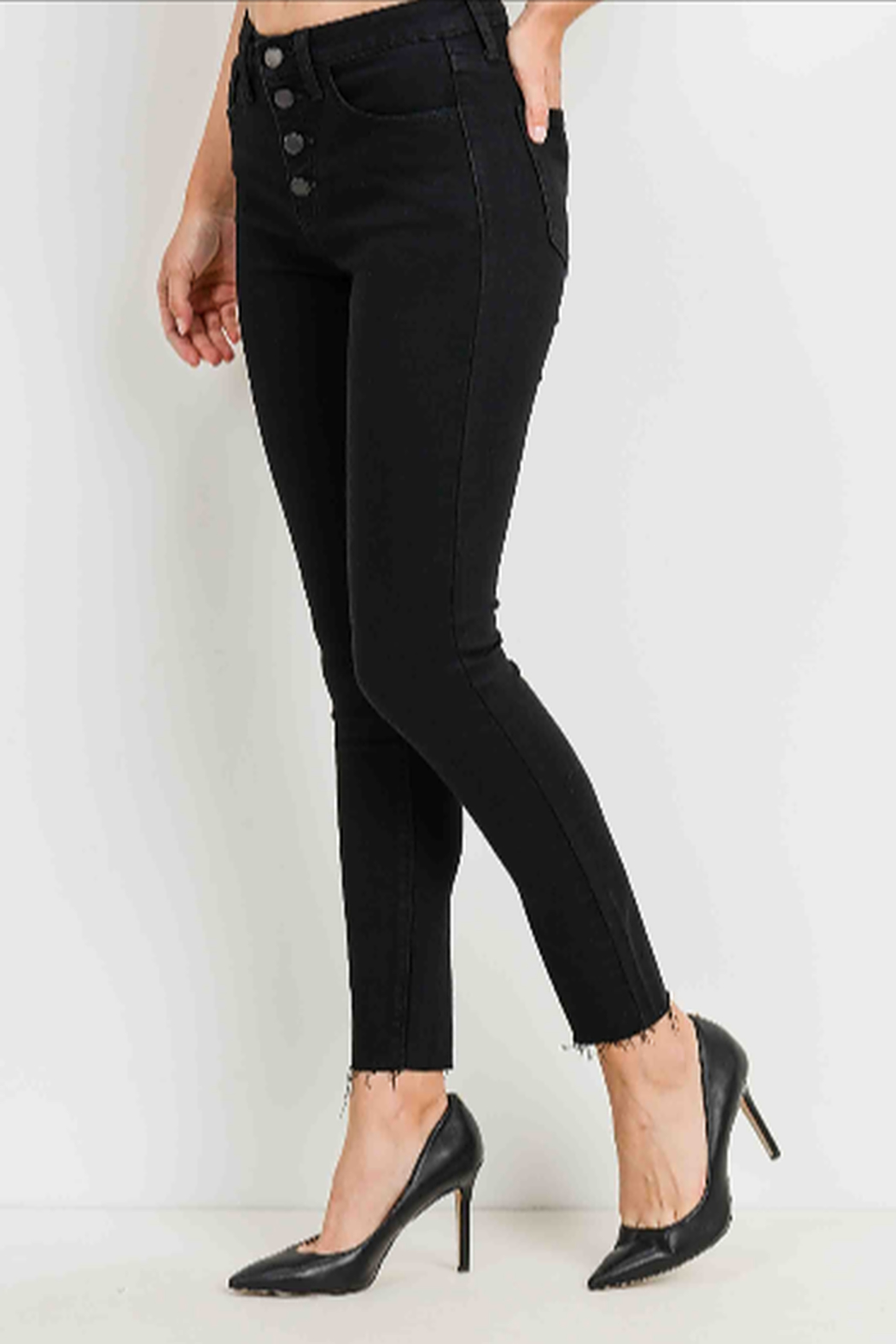 Just Black Denim Button Fly Skinny Jeans - Back Cropped Image