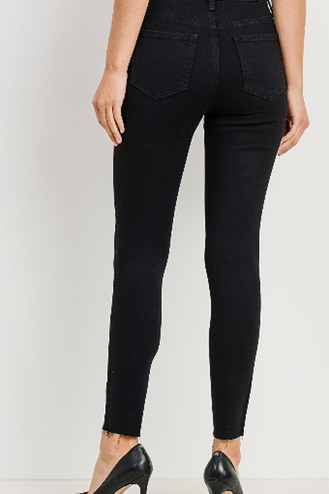 Just Black Denim Button Fly Skinny Jeans - Side Cropped Image