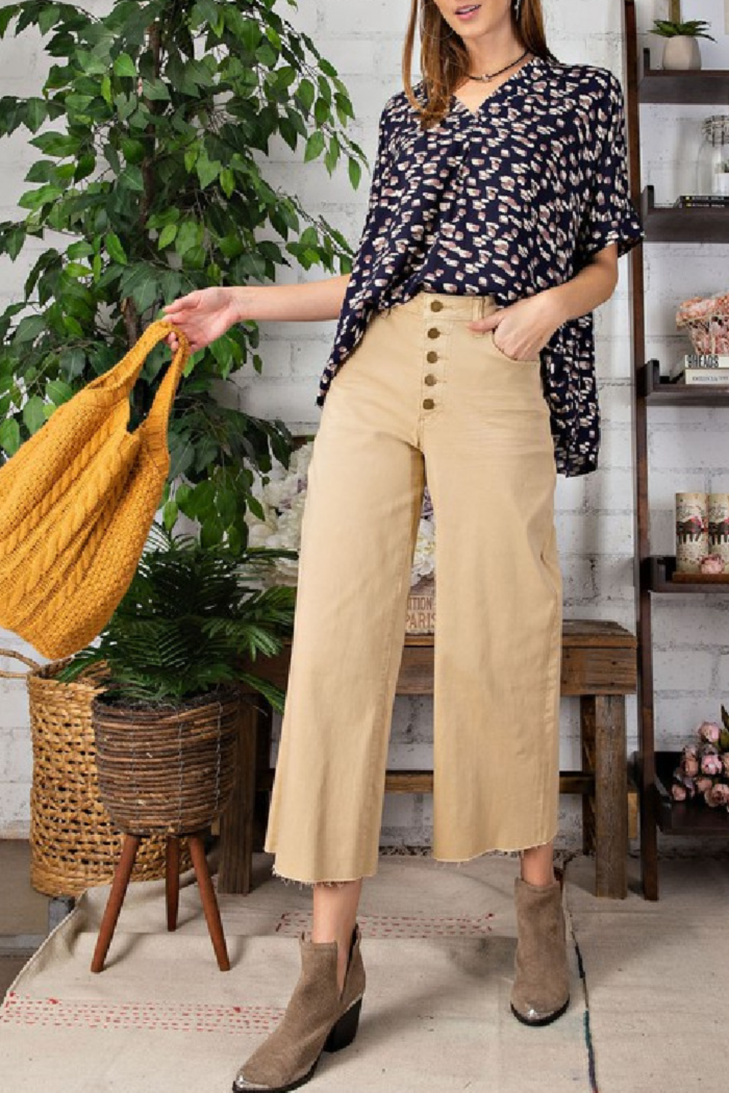 easel  Button Fly Wide Leg Trouser - Main Image