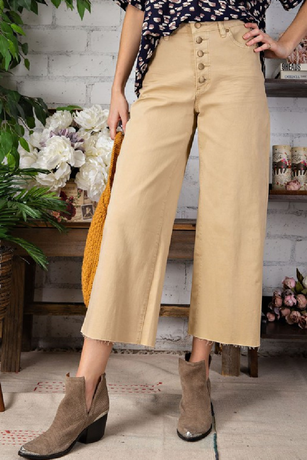 easel  Button Fly Wide Leg Trouser - Front Full Image