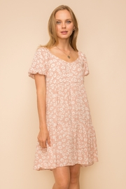 Hem and Thread BUTTON FRONT BUBBLE SLEEVE BABYDOLL DRESS - Product Mini Image