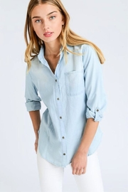 Love Tree Button-Front Chambray Shirt - Product Mini Image