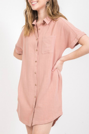 Very J Button front collar dress - Product Mini Image