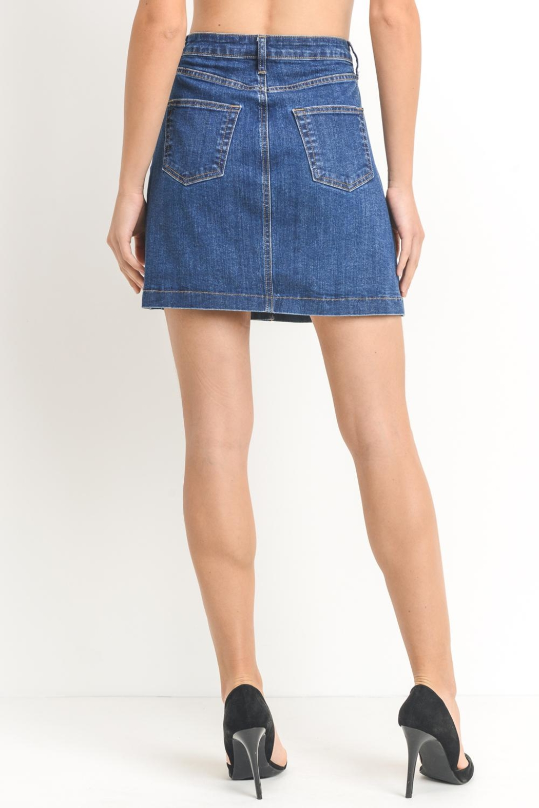 Just Black Denim Button-Front Denim Skirt - Side Cropped Image