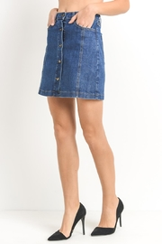 Just Black Denim Button-Front Denim Skirt - Front full body