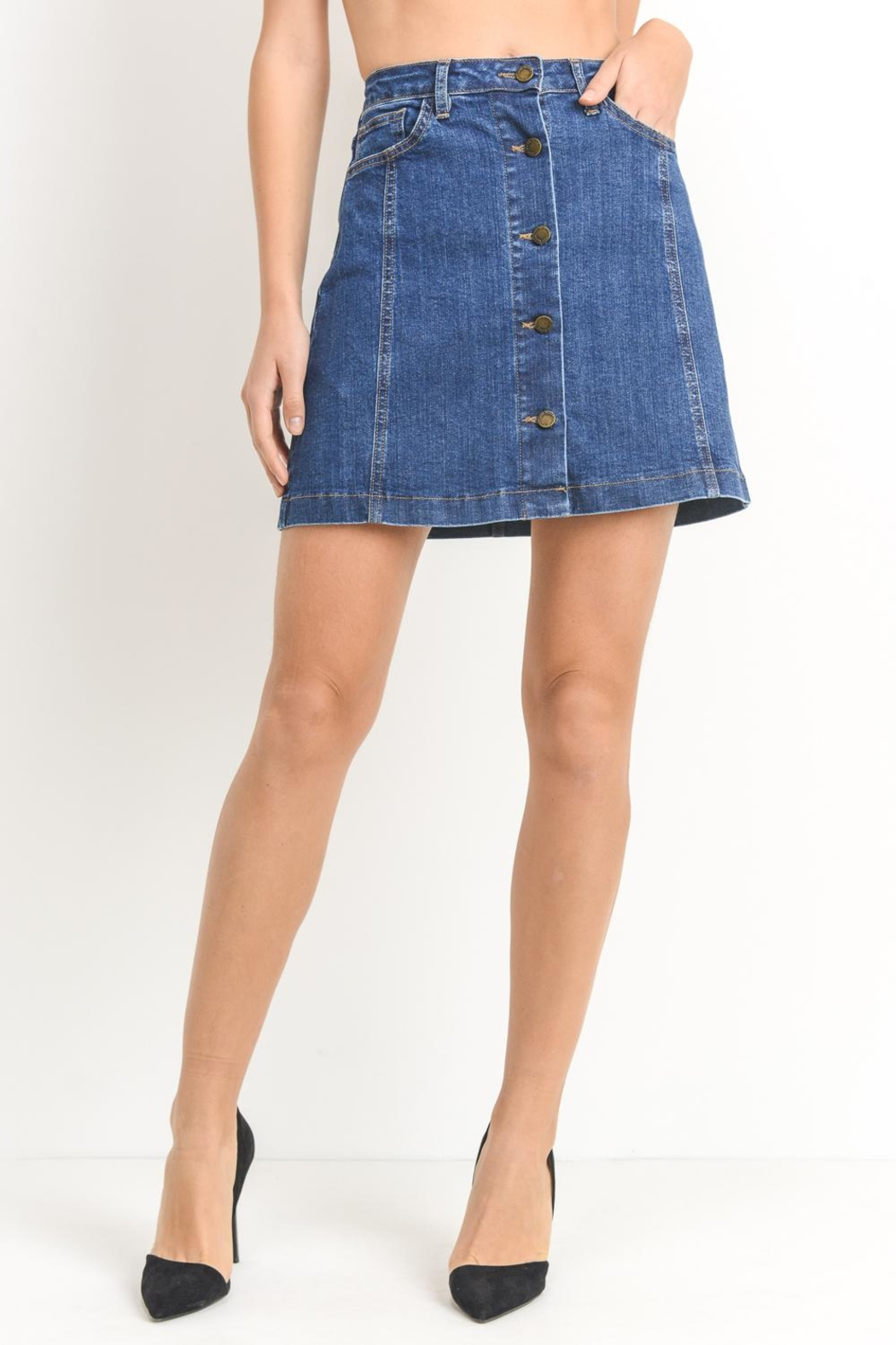 Just Black Denim Button-Front Denim Skirt - Main Image