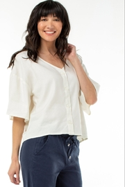 Liverpool  Button Front Drop Shoulder Top, Cream - Product Mini Image