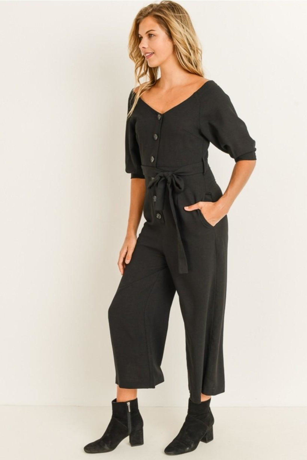 Elegance by Sarah Ruhs Button Front Jumpsuit - Front Full Image