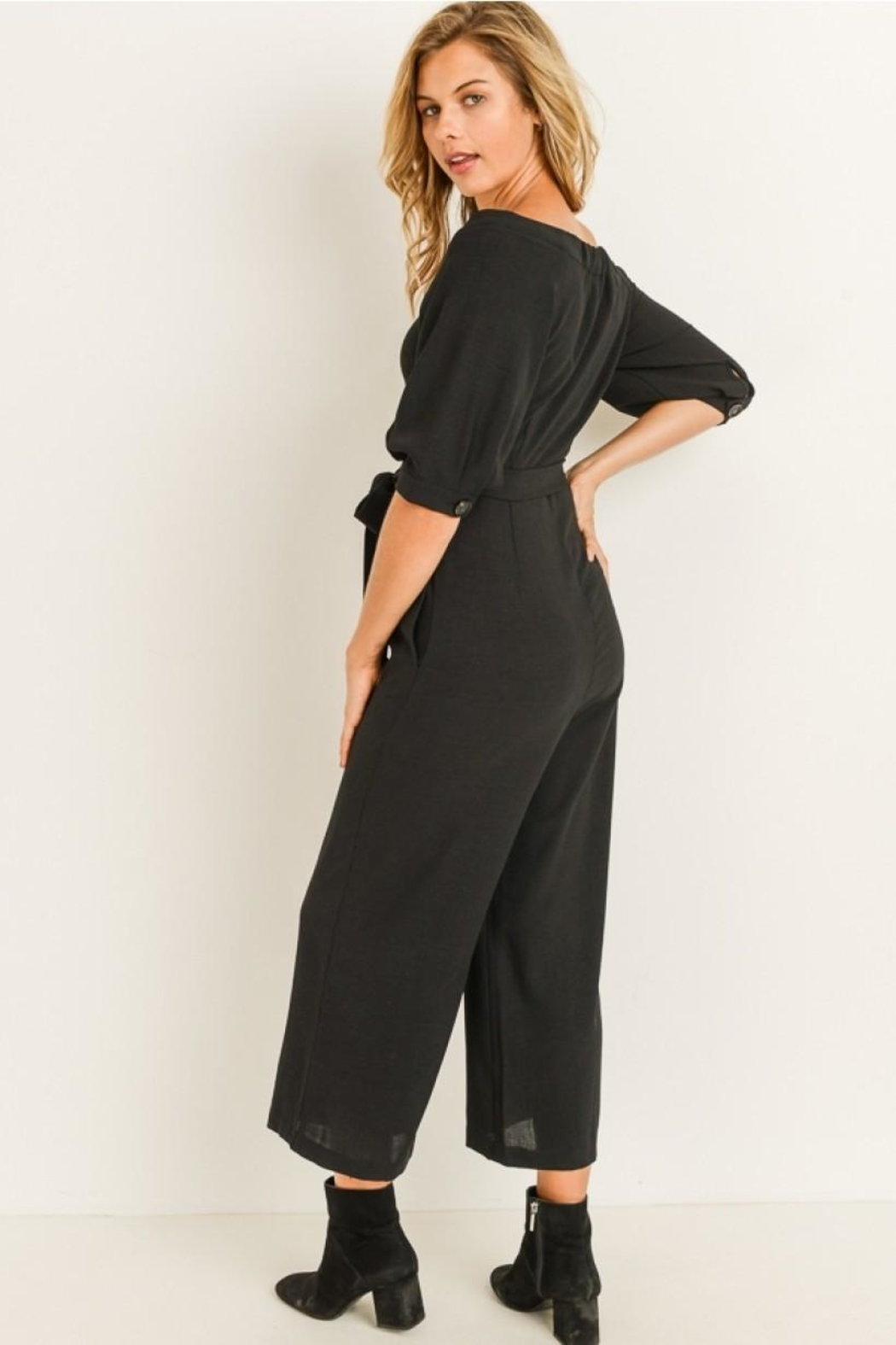 Elegance by Sarah Ruhs Button Front Jumpsuit - Side Cropped Image