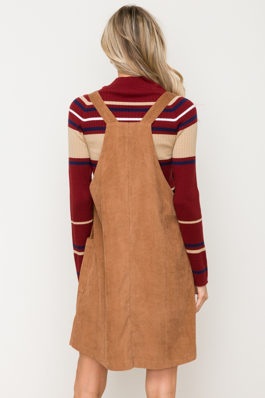 Hem & Thread Button Front Micro Corduroy Pinafore - Side Cropped Image
