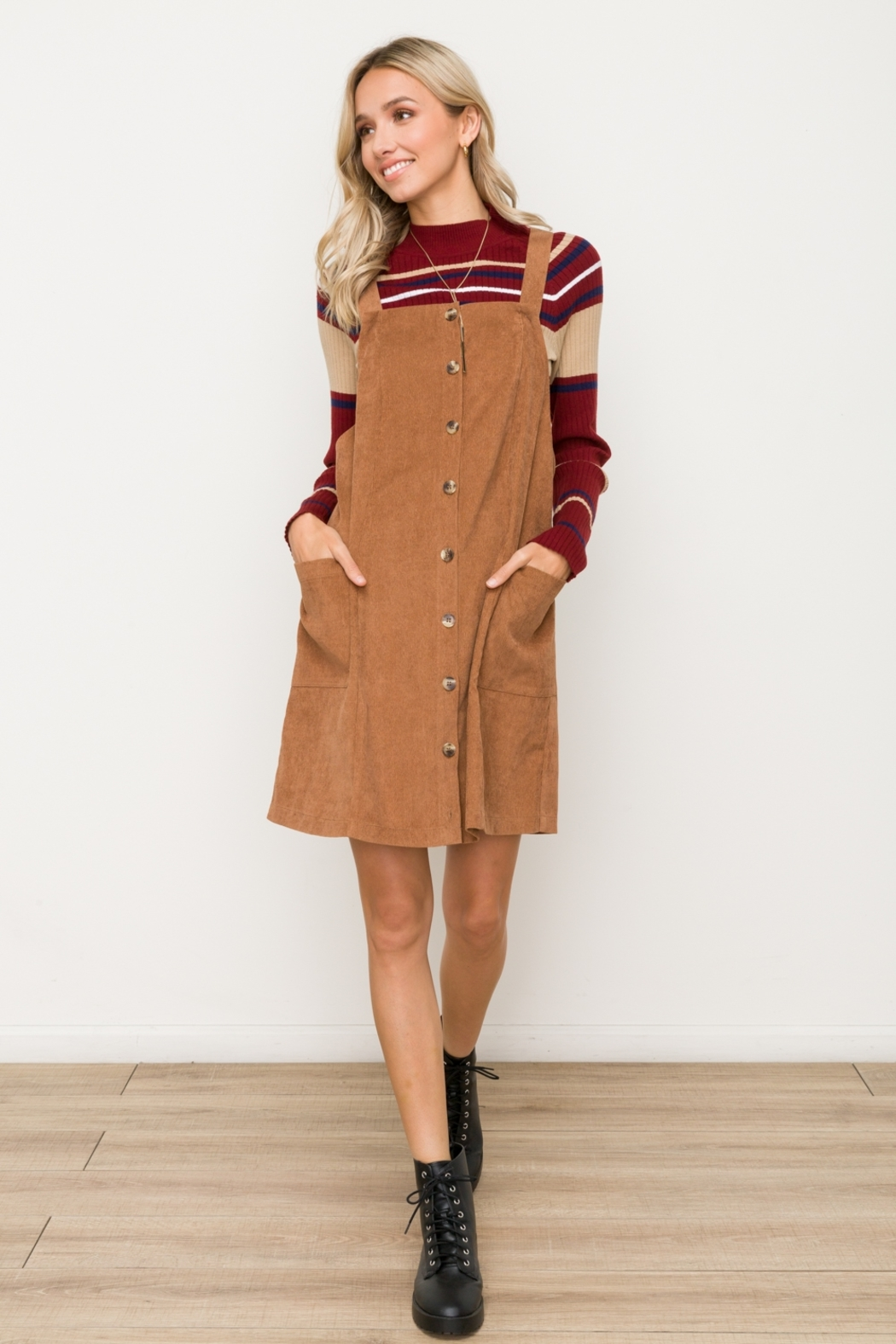 Hem & Thread Button Front Micro Corduroy Pinafore - Back Cropped Image