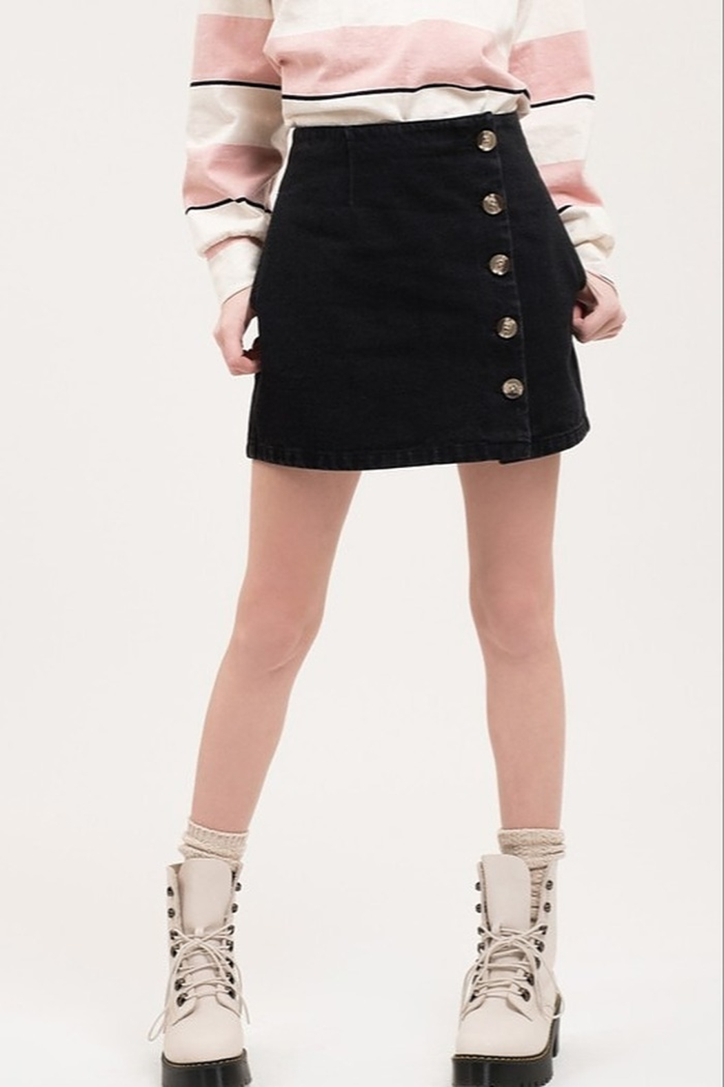 blu Pepper  Button Front Mini Skirt - Front Cropped Image