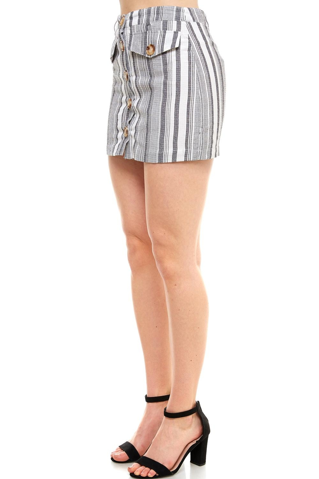 Favlux Button-Front Mini Skirt - Side Cropped Image