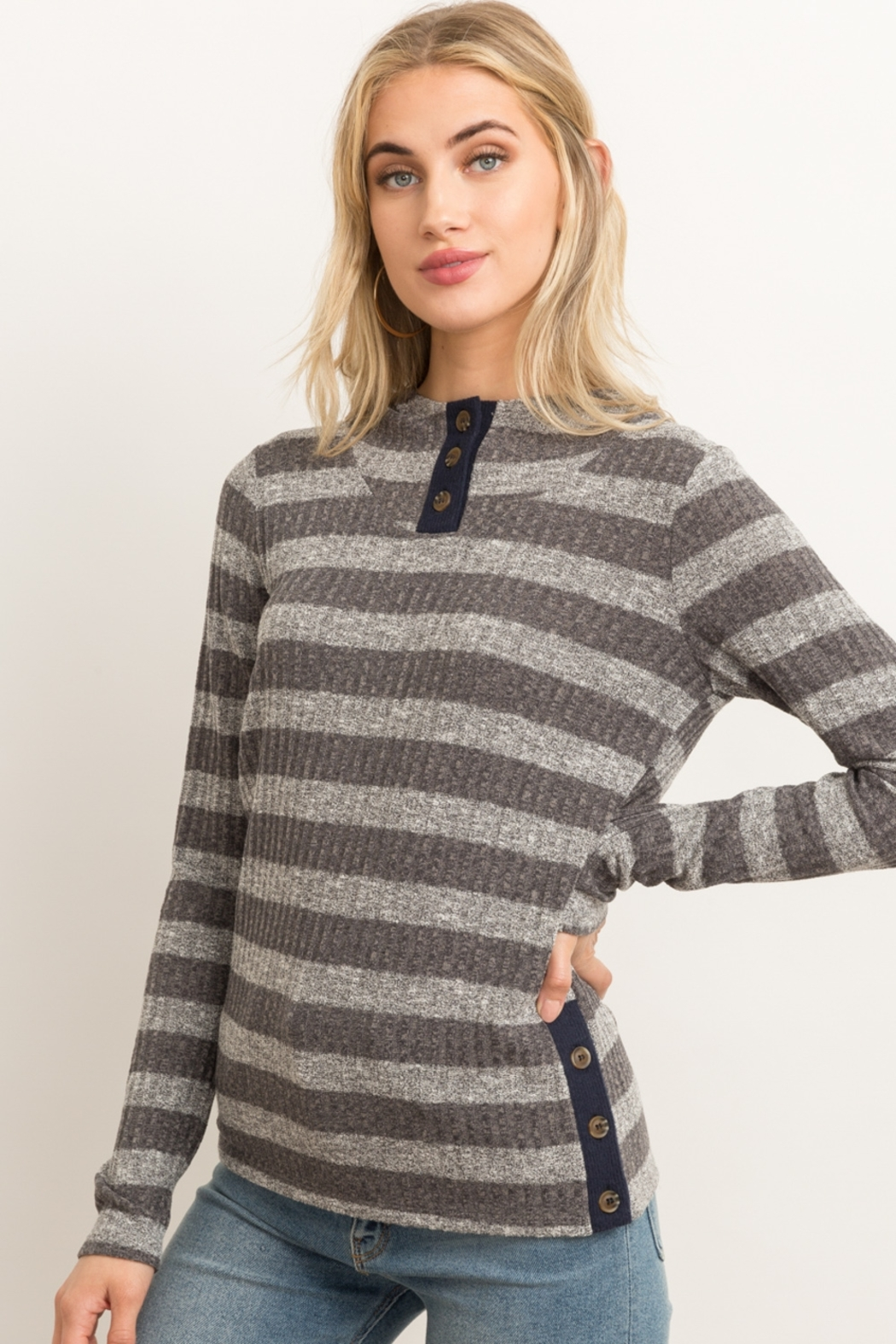 Hem & Thread Button Front Rib Stripe Hoodie - Front Cropped Image