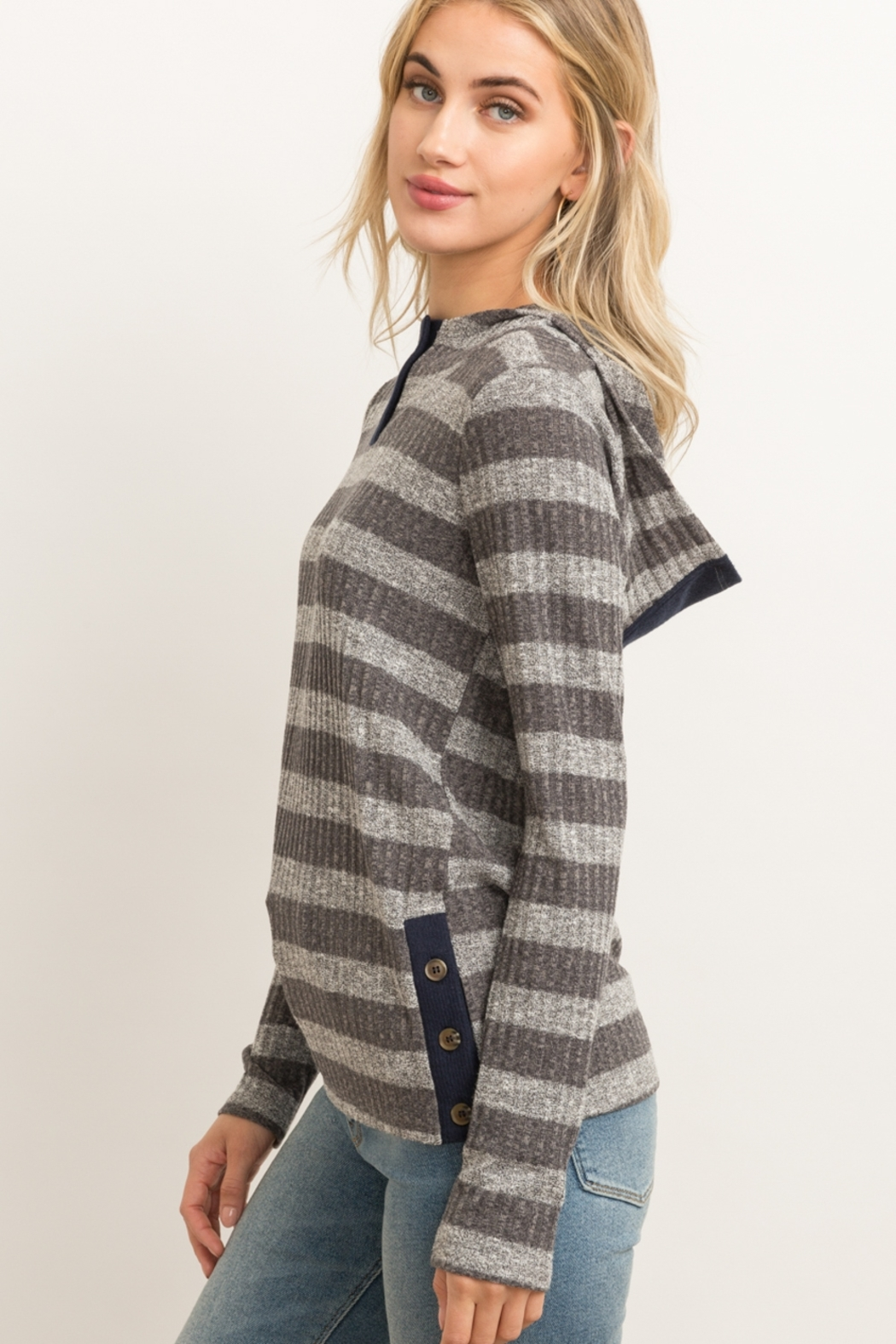 Hem & Thread Button Front Rib Stripe Hoodie - Front Full Image