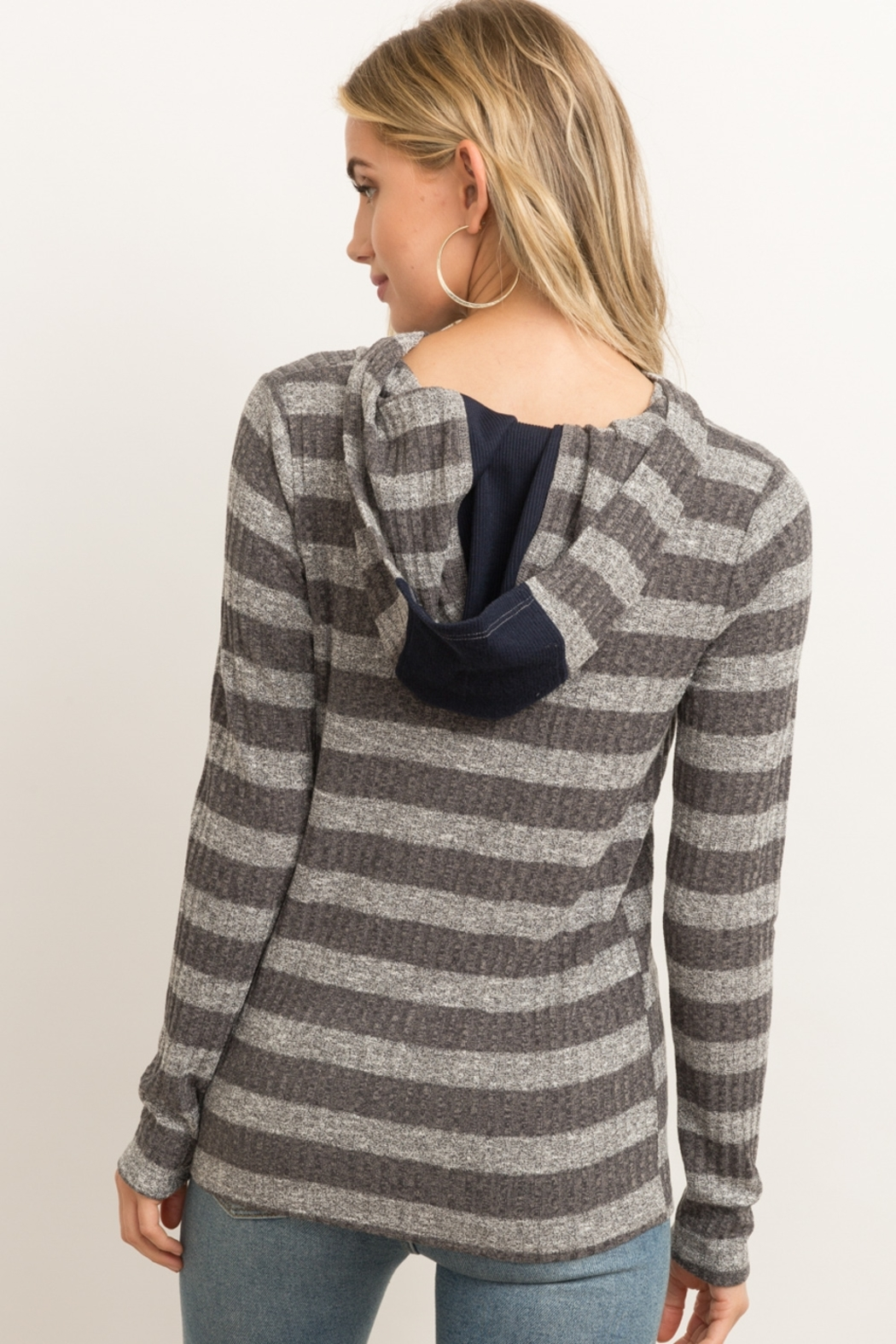 Hem & Thread Button Front Rib Stripe Hoodie - Side Cropped Image