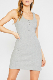 Mittoshop BUTTON FRONT RIB TANK DRESS - Front cropped