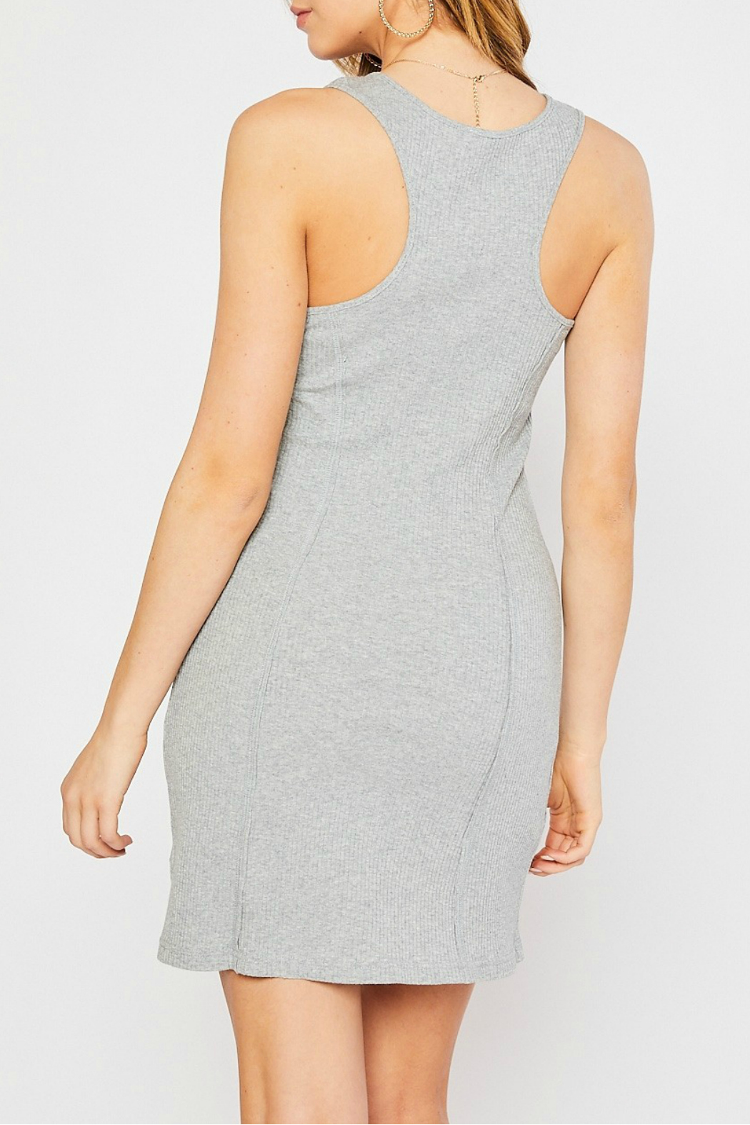 Mittoshop BUTTON FRONT RIB TANK DRESS - Front Full Image