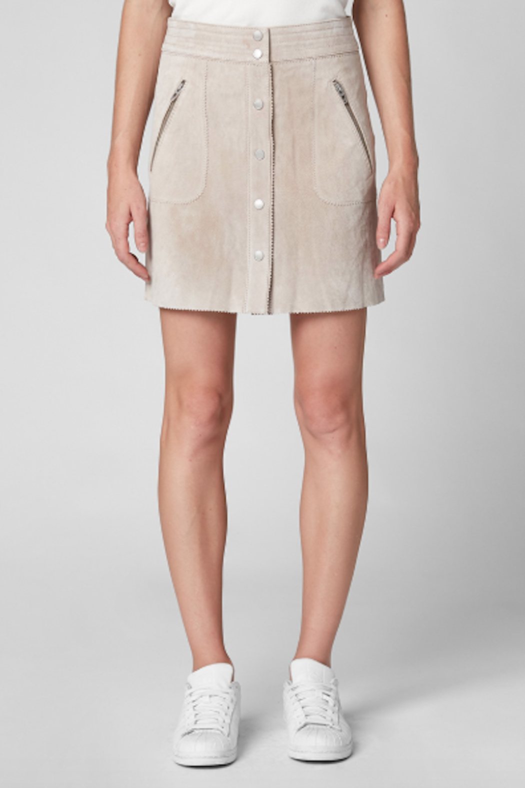BlankNYC Button Front Suede Skirt - Front Full Image