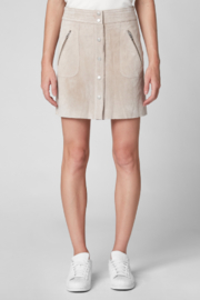 BlankNYC Button Front Suede Skirt - Front full body